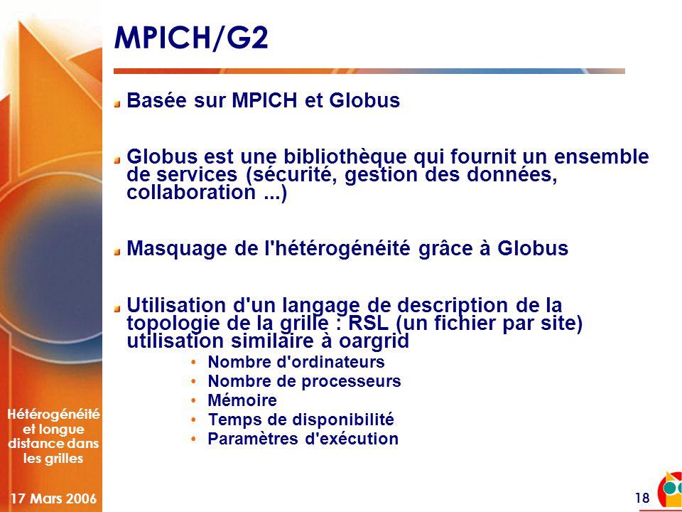 Hétérogénéité et longue distance dans les grilles 17 Mars 2006 18 MPICH/G2 Basée sur MPICH et Globus Globus est une bibliothèque qui fournit un ensemble de services (sécurité, gestion des données, collaboration...) Masquage de l hétérogénéité grâce à Globus Utilisation d un langage de description de la topologie de la grille : RSL (un fichier par site) utilisation similaire à oargrid •Nombre d ordinateurs •Nombre de processeurs •Mémoire •Temps de disponibilité •Paramètres d exécution
