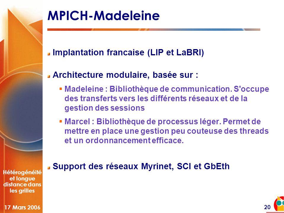 Hétérogénéité et longue distance dans les grilles 17 Mars 2006 20 MPICH-Madeleine Implantation francaise (LIP et LaBRI) Architecture modulaire, basée sur :  Madeleine : Bibliothèque de communication.
