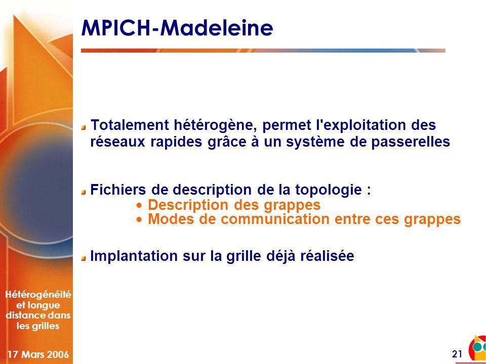 Hétérogénéité et longue distance dans les grilles 17 Mars 2006 21 MPICH-Madeleine Totalement hétérogène, permet l'exploitation des réseaux rapides grâ