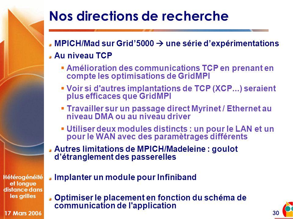 Hétérogénéité et longue distance dans les grilles 17 Mars 2006 30 Nos directions de recherche MPICH/Mad sur Grid'5000  une série d'expérimentations Au niveau TCP  Amélioration des communications TCP en prenant en compte les optimisations de GridMPI  Voir si d autres implantations de TCP (XCP...) seraient plus efficaces que GridMPI  Travailler sur un passage direct Myrinet / Ethernet au niveau DMA ou au niveau driver  Utiliser deux modules distincts : un pour le LAN et un pour le WAN avec des paramètrages différents Autres limitations de MPICH/Madeleine : goulot d'étranglement des passerelles Implanter un module pour Infiniband Optimiser le placement en fonction du schéma de communication de l application