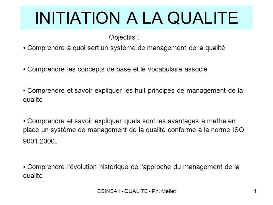 ESINSA1 - QUALITE - Ph. Mellet1 INITIATION A LA QUALITE Objectifs : • Comprendre à quoi sert un système de management de la qualité • Comprendre les c
