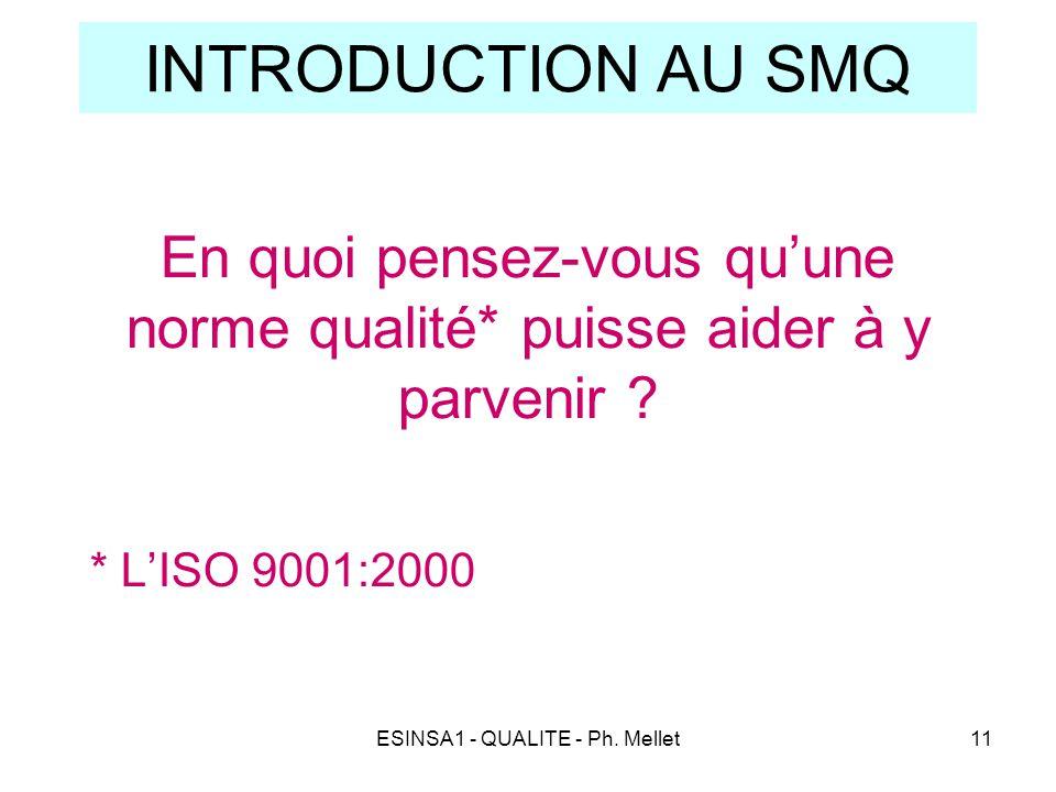 ESINSA1 - QUALITE - Ph. Mellet11 INTRODUCTION AU SMQ En quoi pensez-vous qu'une norme qualité* puisse aider à y parvenir ? * L'ISO 9001:2000