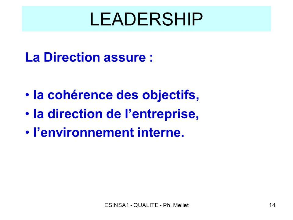 ESINSA1 - QUALITE - Ph. Mellet14 LEADERSHIP La Direction assure : • la cohérence des objectifs, • la direction de l'entreprise, • l'environnement inte