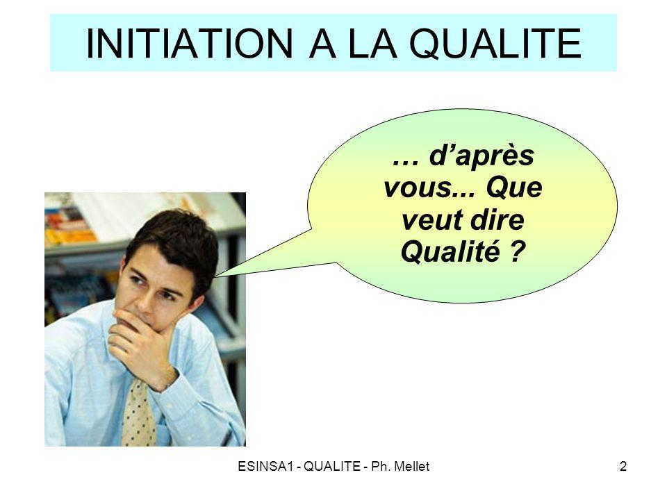 ESINSA1 - QUALITE - Ph. Mellet2 INITIATION A LA QUALITE … d'après vous... Que veut dire Qualité ?