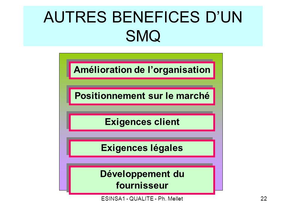ESINSA1 - QUALITE - Ph. Mellet22 AUTRES BENEFICES D'UN SMQ Amélioration de l'organisation Positionnement sur le marché Exigences client Exigences léga
