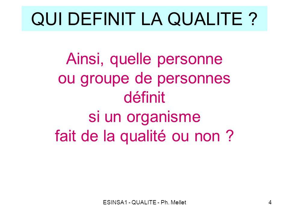 ESINSA1 - QUALITE - Ph. Mellet4 QUI DEFINIT LA QUALITE ? Ainsi, quelle personne ou groupe de personnes définit si un organisme fait de la qualité ou n