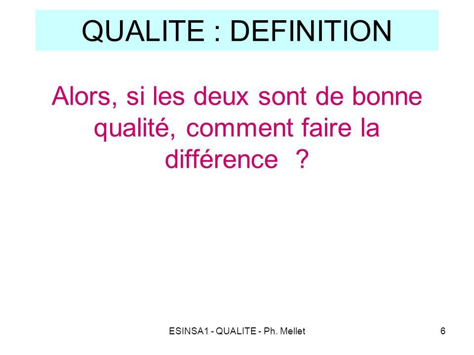 ESINSA1 - QUALITE - Ph. Mellet6 QUALITE : DEFINITION Alors, si les deux sont de bonne qualité, comment faire la différence ?