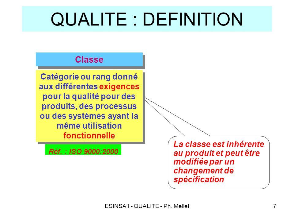 ESINSA1 - QUALITE - Ph. Mellet7 QUALITE : DEFINITION La classe est inhérente au produit et peut être modifiée par un changement de spécification Réf.