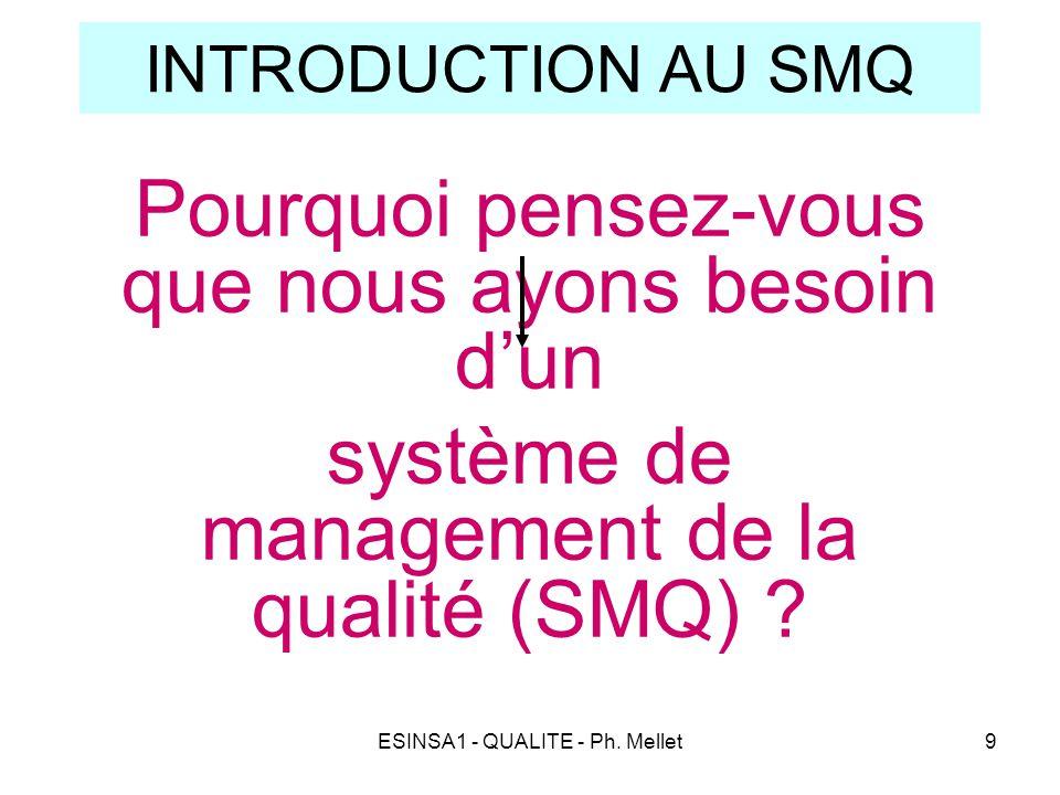 ESINSA1 - QUALITE - Ph. Mellet9 INTRODUCTION AU SMQ Pourquoi pensez-vous que nous ayons besoin d'un système de management de la qualité (SMQ) ?