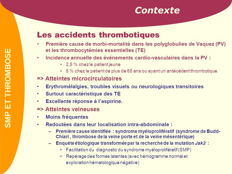 PREVAIL 1- Syndrome myéloprolifératif et thrombose  Corrélation mutation de Jak2 et risque thrombotique •Rationnel : les patients TE avec la mutation Jak2 ont une élévation du chiffre de leucocytes et de plaquettes •Hypothèse renforcée par la démonstration du bénéfice par rapport à l'anagrélide d'un traitement par hydroxyurée sur la prévention de la thrombose chez les patients TE •La corrélation doit être confirmée par d'autres études, en particulier prospectives.
