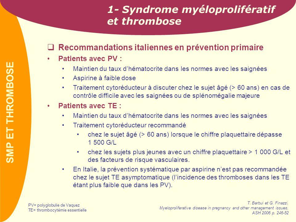 PREVAIL 2- SMP et facteurs de risque vasculaire Population étudiée Syndromes myéloprolifératifs (n=463) Age moyen 59 ans (17-89) Thrombocytémies essentielles (n=173) Myélofibroses (n=43) Polyglobulie de Vaquez (n=142) SMP=syndrome myéloprolifératifVincelli et al.