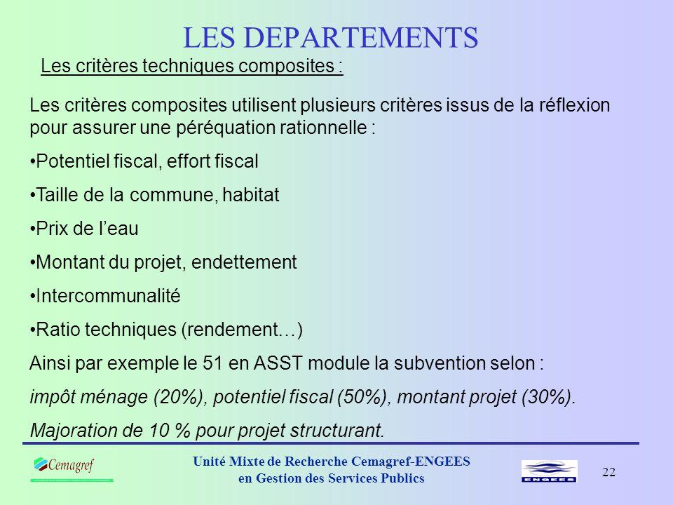 21 Unité Mixte de Recherche Cemagref-ENGEES en Gestion des Services Publics LES DEPARTEMENTS Les autres critères techniques : Les critères techniques