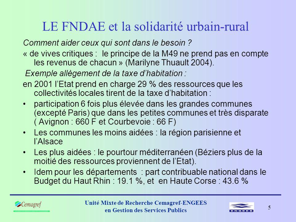 4 Unité Mixte de Recherche Cemagref-ENGEES en Gestion des Services Publics LE FNDAE et la solidarité urbain-rural Solidarité nationale .