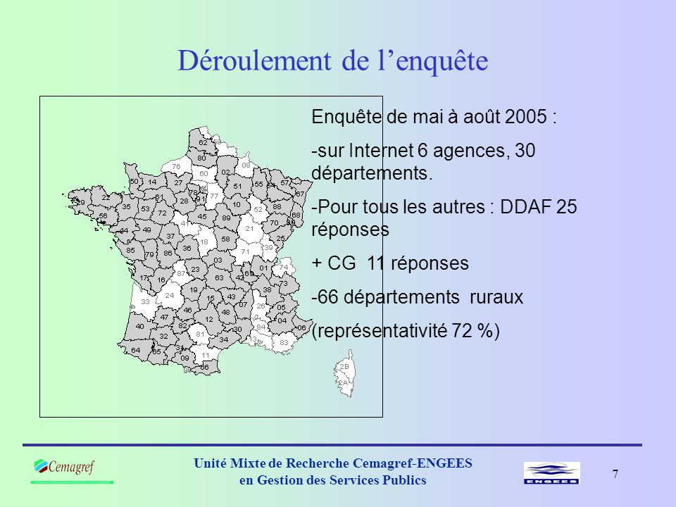 6 Unité Mixte de Recherche Cemagref-ENGEES en Gestion des Services Publics LE FNDAE et la solidarité urbain-rural Donc : ressources des communes et des départements = au moins 30 % Etat + …DGF+ DSR+..