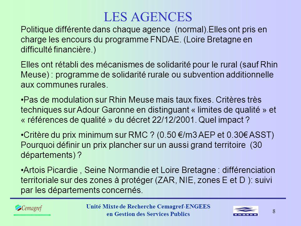 7 Unité Mixte de Recherche Cemagref-ENGEES en Gestion des Services Publics Déroulement de l'enquête Enquête de mai à août 2005 : -sur Internet 6 agences, 30 départements.