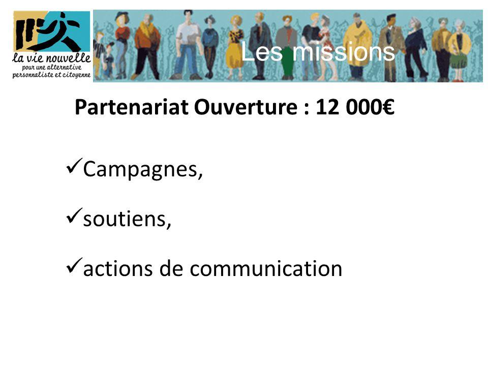 Les missions  Campagnes,  soutiens,  actions de communication Partenariat Ouverture : 12 000€