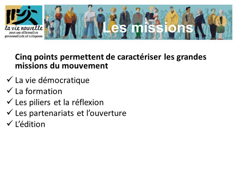Cinq points permettent de caractériser les grandes missions du mouvement  La vie démocratique  La formation  Les piliers et la réflexion  Les part