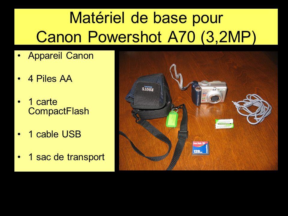Matériel de base pour Canon Powershot A70 (3,2MP) •Appareil Canon •4 Piles AA •1 carte CompactFlash •1 cable USB •1 sac de transport