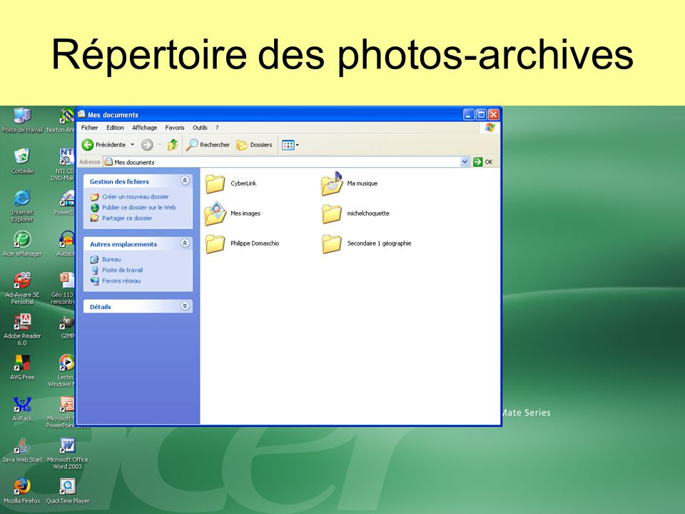 Répertoire des photos-archives