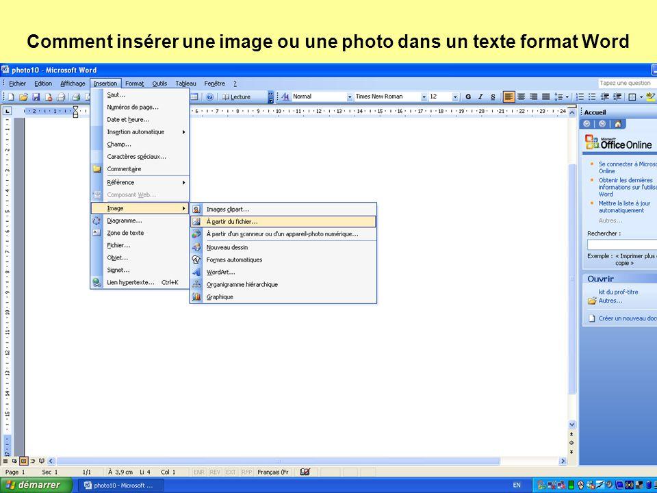 Comment insérer une image ou une photo dans un texte format Word