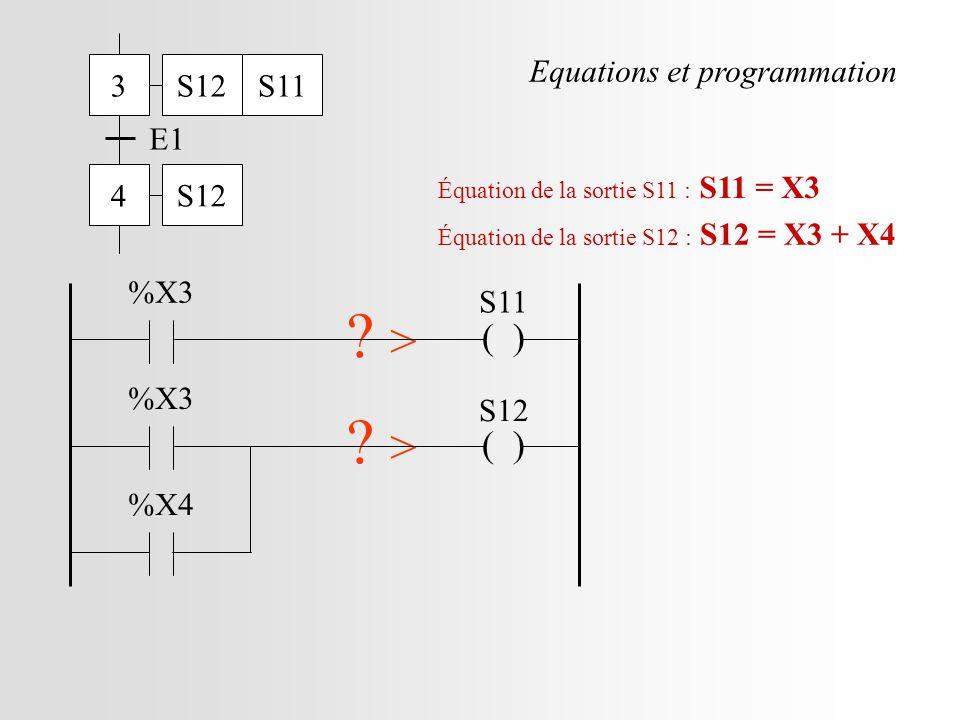 3 4 E1 S12S11 S12 ( ) S11 .> %X3 Équation de la sortie S11 : S11 = X3 ( ) S12 .