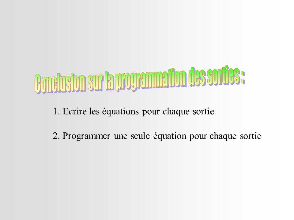 1. Ecrire les équations pour chaque sortie 2. Programmer une seule équation pour chaque sortie