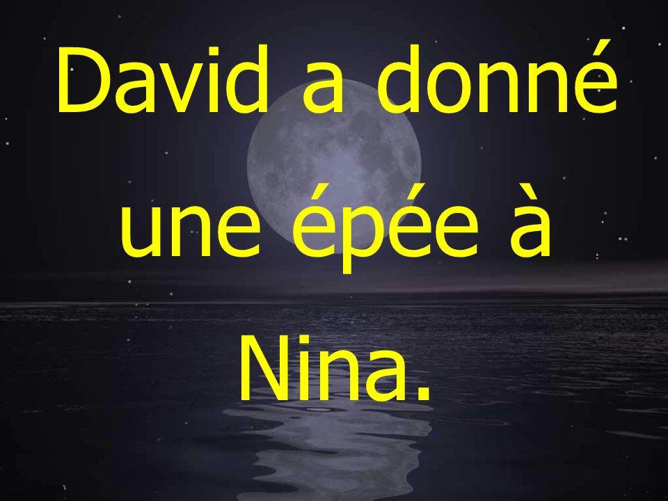 David a donné une épée à Nina.