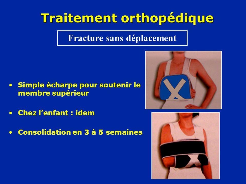 Traitement orthopédique •Simple écharpe pour soutenir le membre supérieur •Chez l'enfant : idem •Consolidation en 3 à 5 semaines Fracture sans déplacement