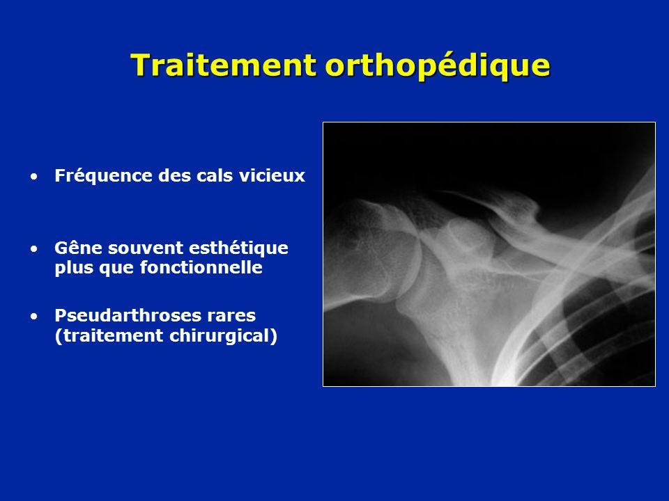 Traitement orthopédique •Fréquence des cals vicieux •Gêne souvent esthétique plus que fonctionnelle •Pseudarthroses rares (traitement chirurgical)