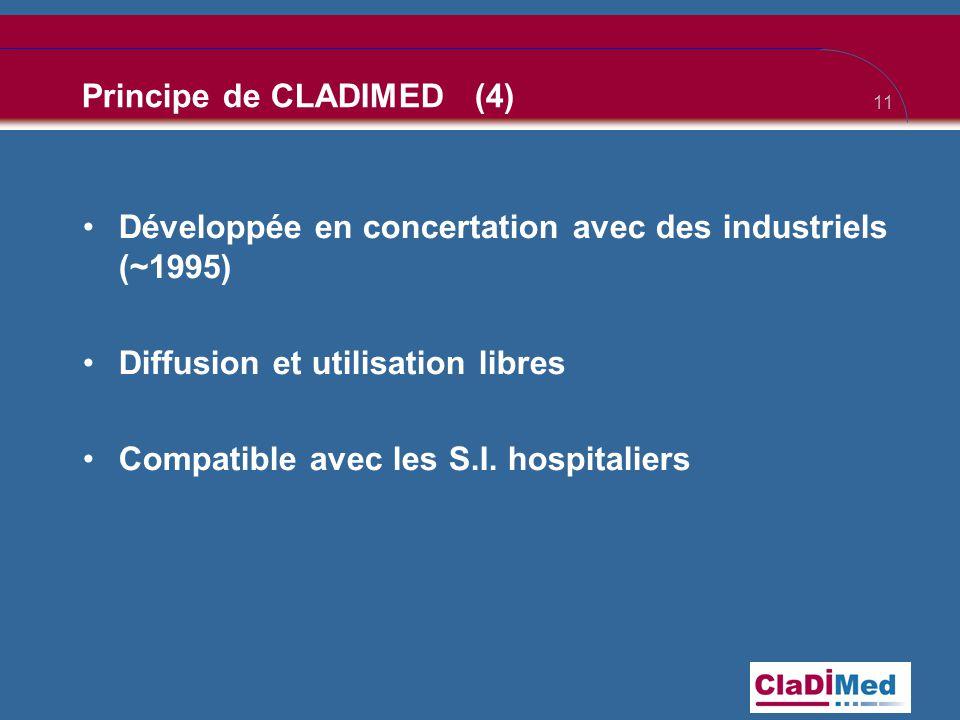 11 Principe de CLADIMED (4) •Développée en concertation avec des industriels (~1995) •Diffusion et utilisation libres •Compatible avec les S.I. hospit