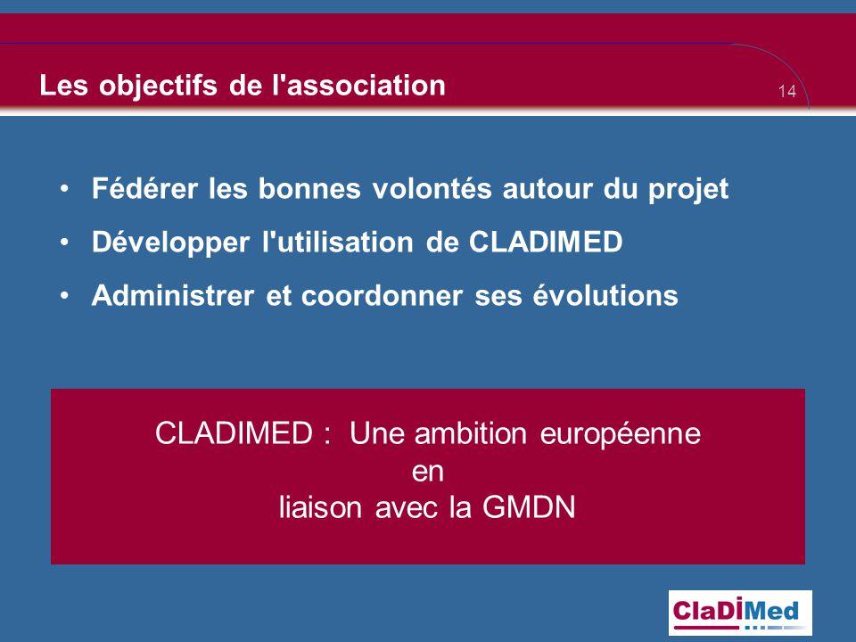 14 Les objectifs de l association •Fédérer les bonnes volontés autour du projet •Développer l utilisation de CLADIMED •Administrer et coordonner ses évolutions CLADIMED : Une ambition européenne en liaison avec la GMDN