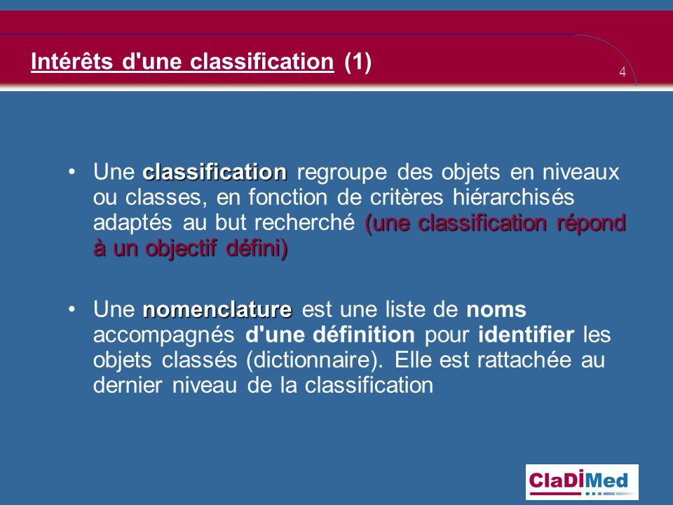 4 Intérêts d une classification (1) classification (une classification répond à un objectif défini) •Une classification regroupe des objets en niveaux ou classes, en fonction de critères hiérarchisés adaptés au but recherché (une classification répond à un objectif défini) nomenclature •Une nomenclature est une liste de noms accompagnés d une définition pour identifier les objets classés (dictionnaire).
