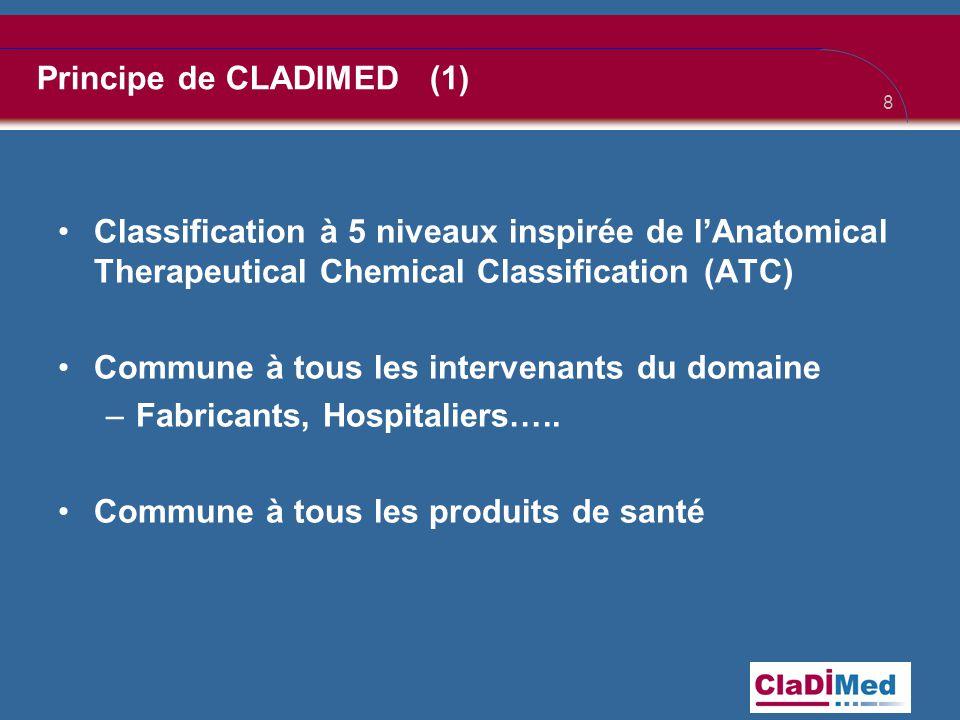 8 Principe de CLADIMED (1) •Classification à 5 niveaux inspirée de l'Anatomical Therapeutical Chemical Classification (ATC) •Commune à tous les intervenants du domaine –Fabricants, Hospitaliers…..