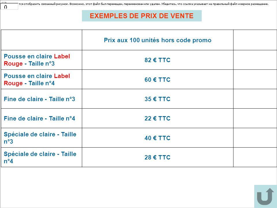 Prix aux 100 unités hors code promo Pousse en claire Label Rouge - Taille n°3 82 € TTC Pousse en claire Label Rouge - Taille n°4 60 € TTC Fine de clai