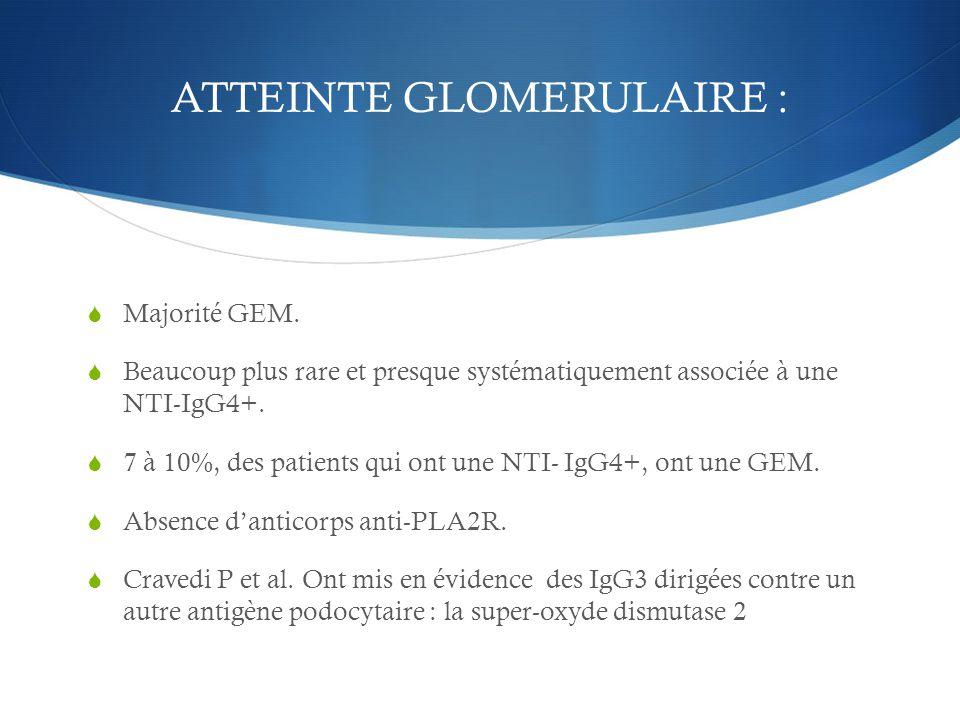 ATTEINTE GLOMERULAIRE :  Majorité GEM.  Beaucoup plus rare et presque systématiquement associée à une NTI-IgG4+.  7 à 10%, des patients qui ont une