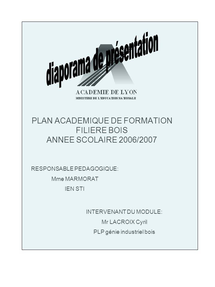 PLAN ACADEMIQUE DE FORMATION FILIERE BOIS ANNEE SCOLAIRE 2006/2007 RESPONSABLE PEDAGOGIQUE: Mme MARMORAT IEN STI INTERVENANT DU MODULE: Mr LACROIX Cyr