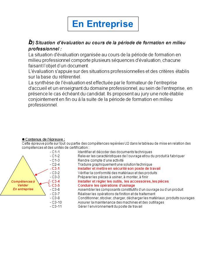b ) Situation d'évaluation au cours de la période de formation en milieu professionnel : La situation d'évaluation organisée au cours de la période de