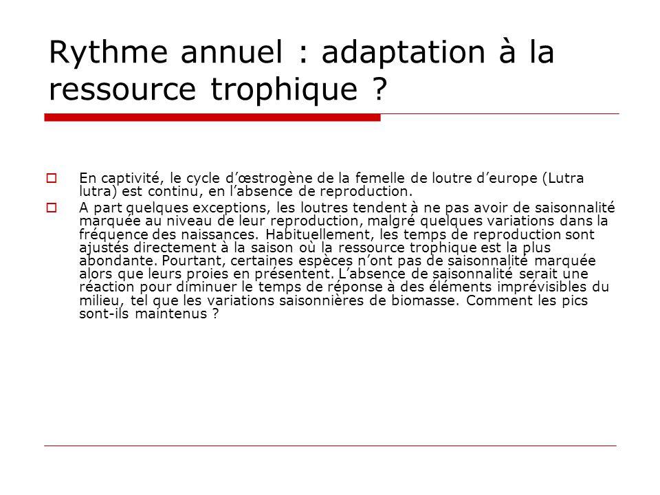 Rythme annuel : adaptation à la ressource trophique ?  En captivité, le cycle d'œstrogène de la femelle de loutre d'europe (Lutra lutra) est continu,