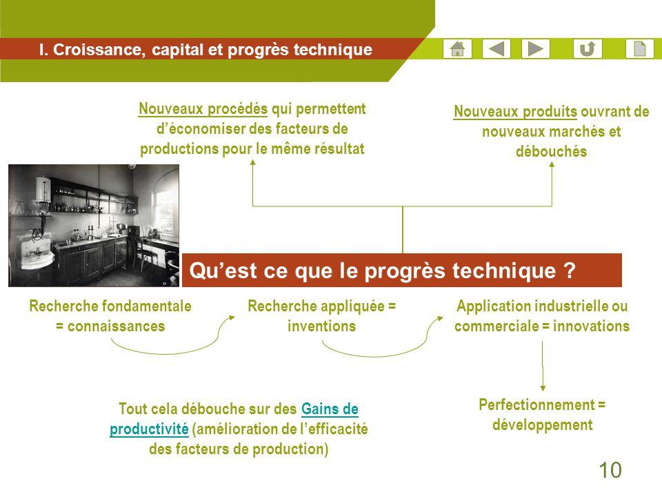 10 I. Croissance, capital et progrès technique Nouveaux procédés qui permettent d'économiser des facteurs de productions pour le même résultat Qu'est