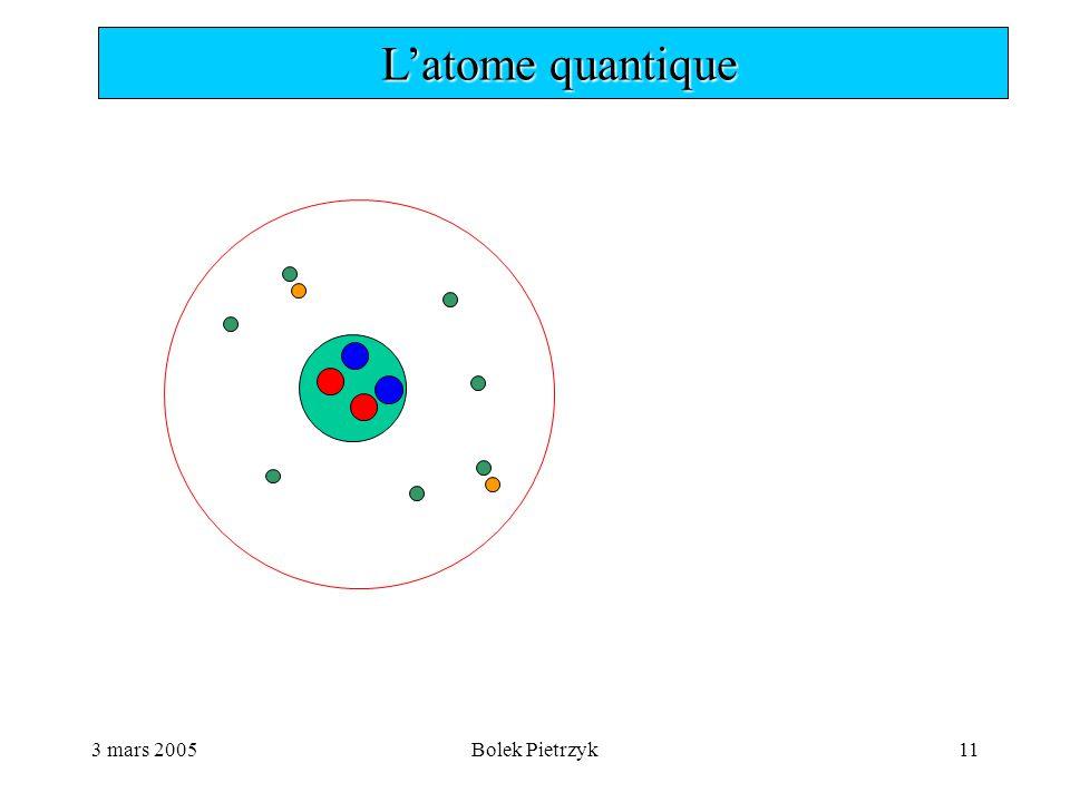 3 mars 2005Bolek Pietrzyk11  L'atome quantique