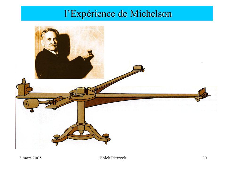 3 mars 2005Bolek Pietrzyk20  l'Expérience de Michelson