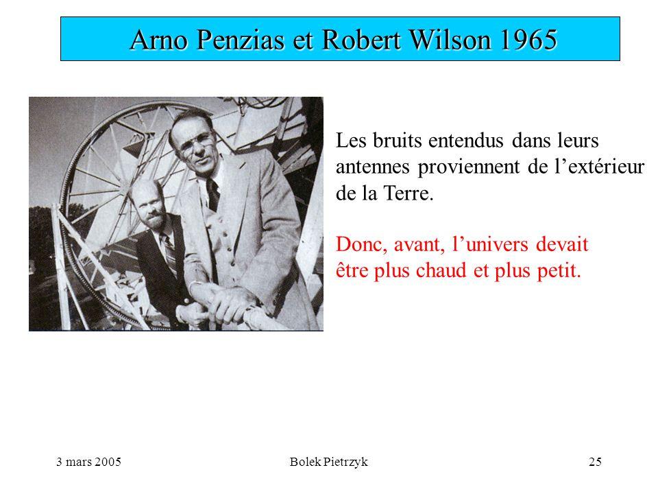 3 mars 2005Bolek Pietrzyk25  Arno Penzias et Robert Wilson 1965 Les bruits entendus dans leurs antennes proviennent de l'extérieur de la Terre.