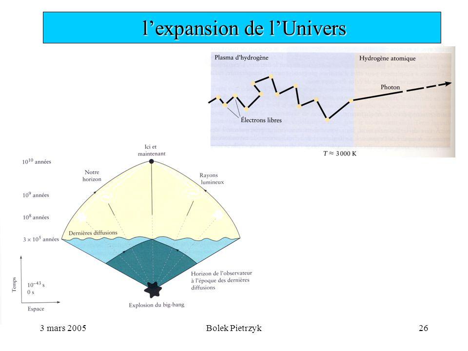 3 mars 2005Bolek Pietrzyk26  l'expansion de l'Univers