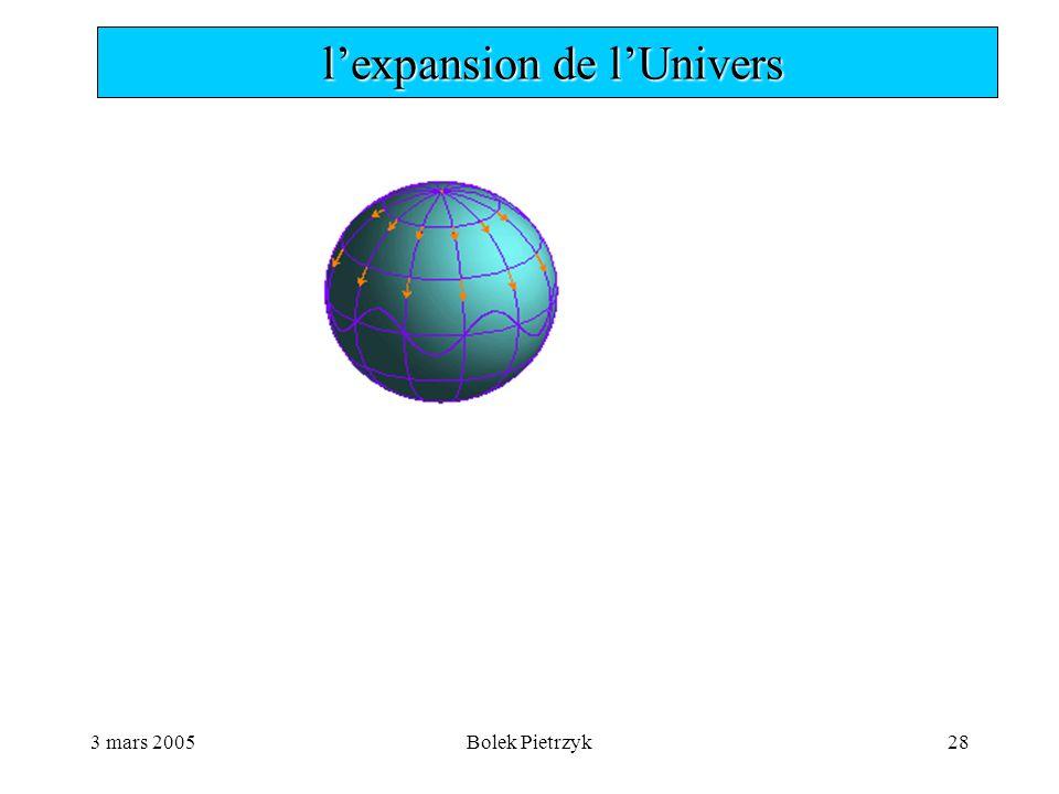 3 mars 2005Bolek Pietrzyk28  l'expansion de l'Univers