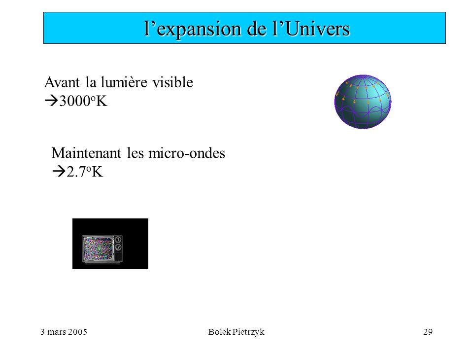 3 mars 2005Bolek Pietrzyk29  l'expansion de l'Univers Avant la lumière visible  3000 o K Maintenant les micro-ondes  2.7 o K