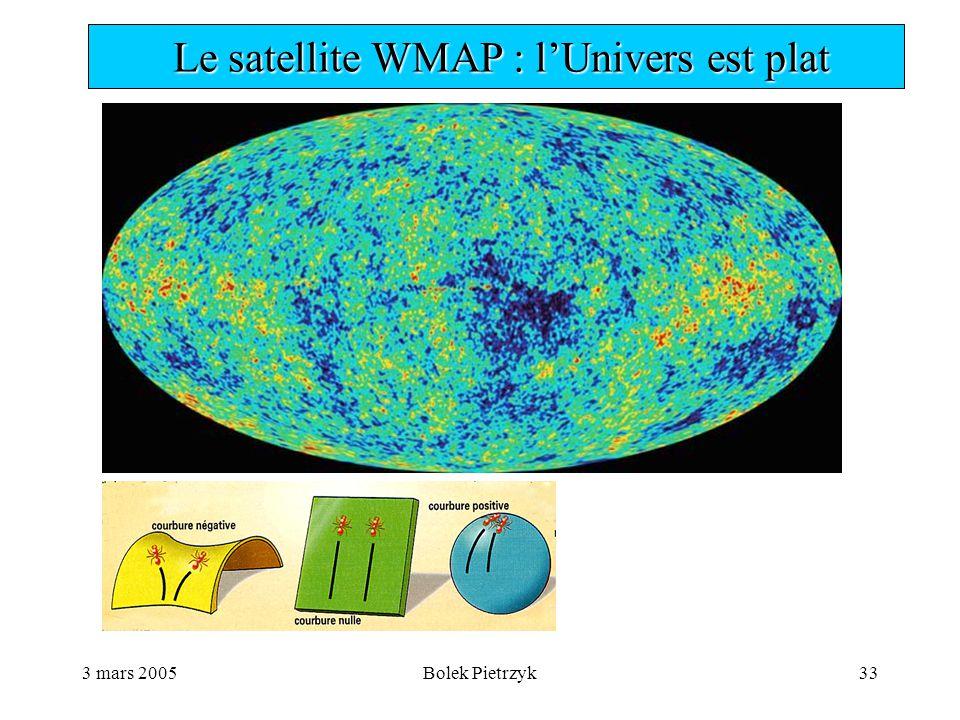 3 mars 2005Bolek Pietrzyk33  Le satellite WMAP : l'Univers est plat