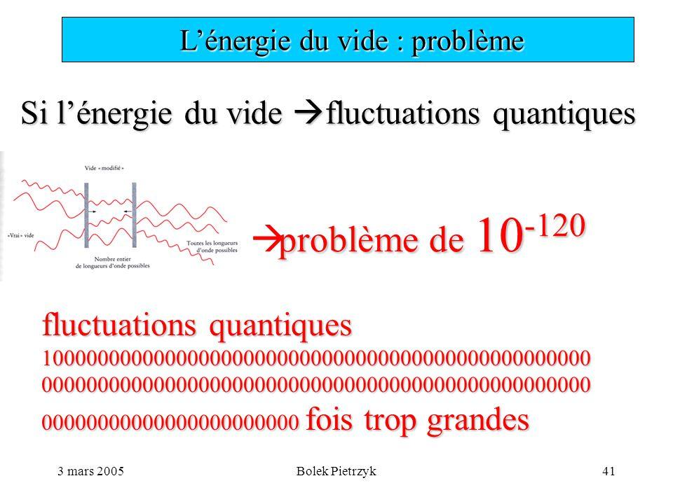 3 mars 2005Bolek Pietrzyk41  L'énergie du vide : problème Si l'énergie du vide  fluctuations quantiques problème de 10 -120  problème de 10 -120 fluctuations quantiques 10000000000000000000000000000000000000000000000000000000000000000000000000000000000000000000000000 00000000000000000000000 fois trop grandes
