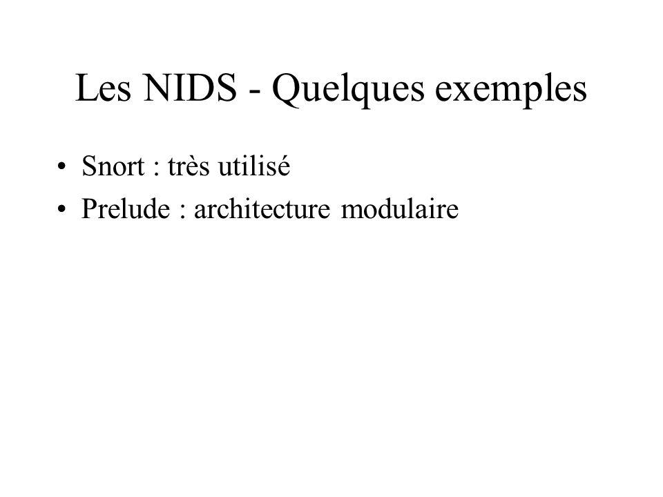 Les NIDS - Quelques exemples •Snort : très utilisé •Prelude : architecture modulaire