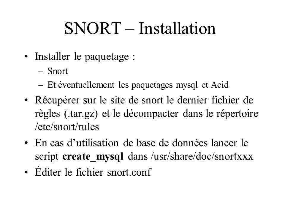SNORT – Installation •Installer le paquetage : –Snort –Et éventuellement les paquetages mysql et Acid •Récupérer sur le site de snort le dernier fichi