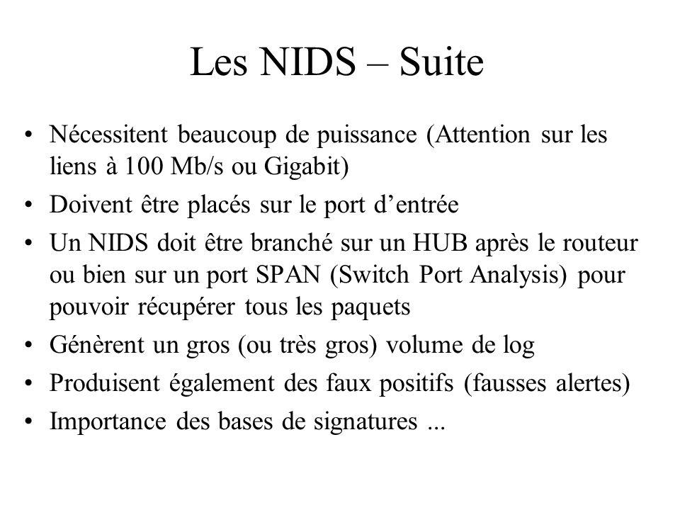 Les NIDS – Suite •Nécessitent beaucoup de puissance (Attention sur les liens à 100 Mb/s ou Gigabit) •Doivent être placés sur le port d'entrée •Un NIDS
